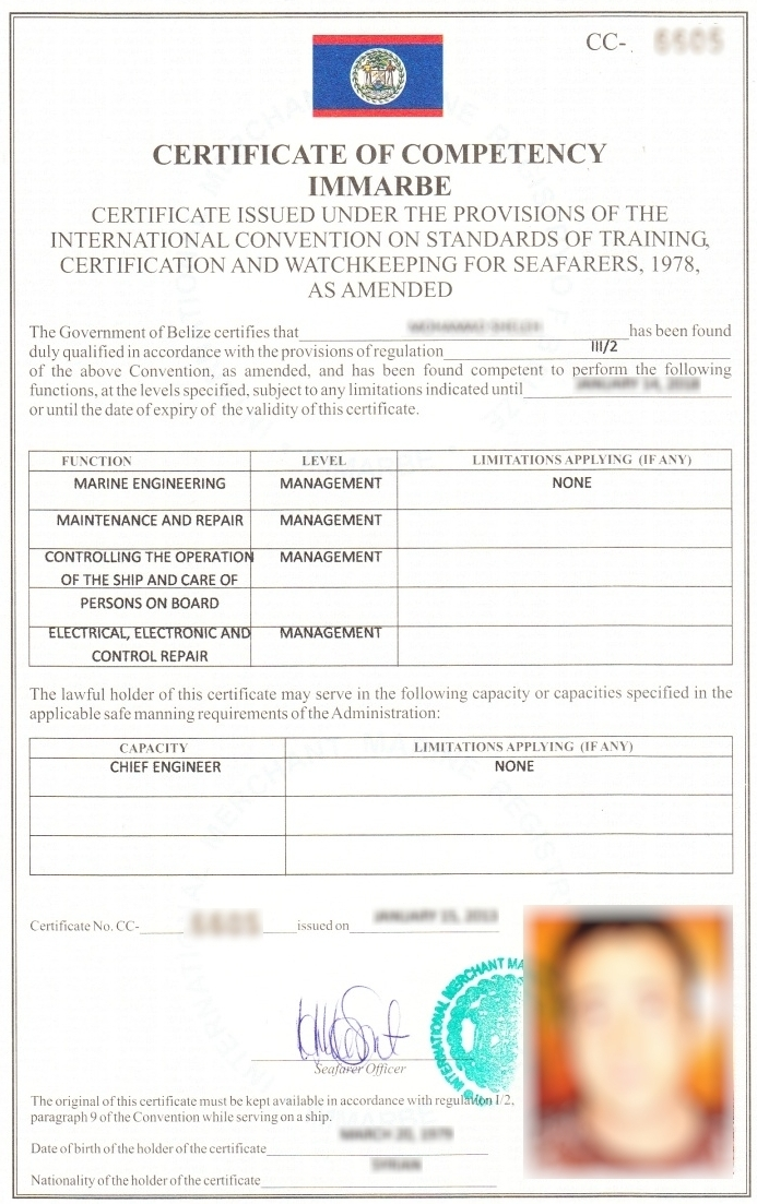Issuance Of Certificates Of Competency According To Stcw Convention